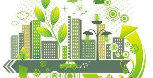Prédios rementendo a construções sustentáveis