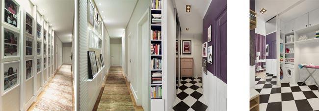 corredores com pisos temáticos